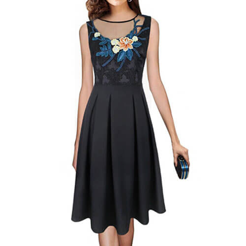 Emage Embroidered Mesh Cocktail Dress